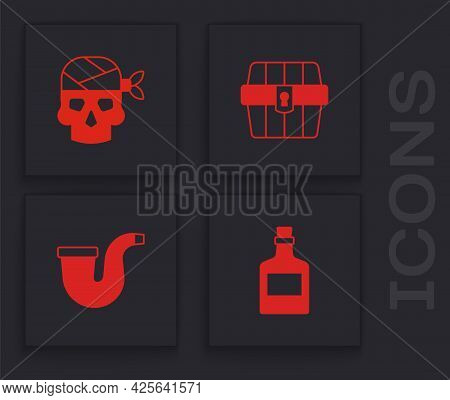Set Alcohol Drink Rum, Pirate Captain, Antique Treasure Chest And Smoking Pipe Icon. Vector