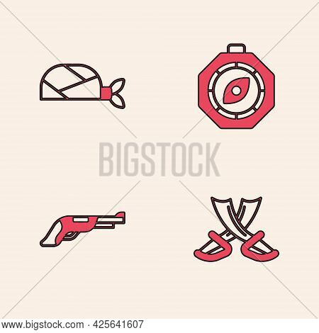 Set Crossed Pirate Swords, Pirate Bandana For Head, Compass And Vintage Pistol Icon. Vector