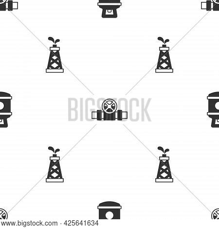 Set Propane Gas Tank, Metallic Pipes And Valve And Oil Rig On Seamless Pattern. Vector