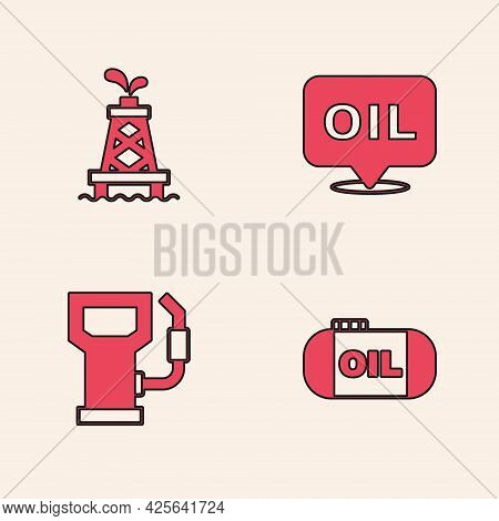 Set Oil Tank Storage, Rig, Word Oil And Petrol Gas Station Icon. Vector