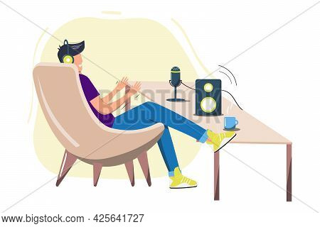 Man Sitting In Chair. Podcast. Happy Young Man Sitting And Streaming Podcast. Live Streaming. Vector