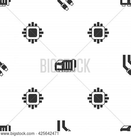 Set Lan Cable Network Internet, Video Graphic Card And Processor With Cpu On Seamless Pattern. Vecto