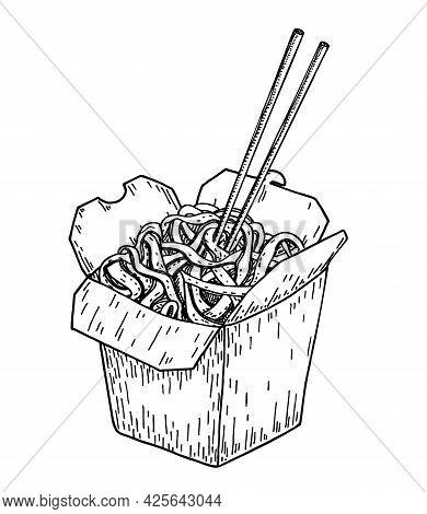Asian Food Noodle Sketch. Wok Box. Asian Fast Food. Perfect For Restaurant Brochure, Cafe Flyer, Del
