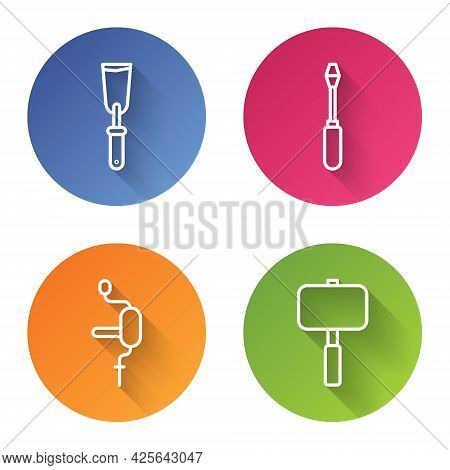Set Line Putty Knife, Screwdriver, Hand Drill And Sledgehammer. Color Circle Button. Vector