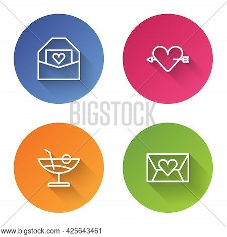 Set Line Envelope With Valentine Heart, Amour And Arrow, Cocktail And . Color Circle Button. Vector