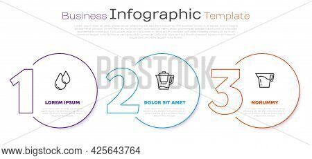 Set Line Water Drop, Jug With Filter And Jug Glass Water. Business Infographic Template. Vector