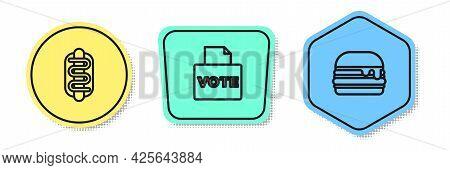 Set Line Hotdog Sandwich, Vote Box And Burger. Colored Shapes. Vector