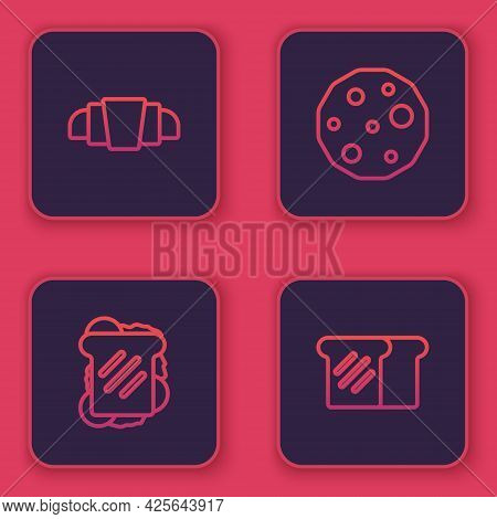 Set Line Croissant, Sandwich, Cookie Or Biscuit And Bread Toast. Blue Square Button. Vector