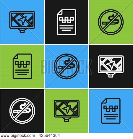 Set Line Gps Device With Map, No Smoking And Taxi Driver License Icon. Vector