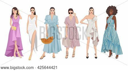 Set Of Women Dressed In Stylish Trendy Pastel Color Summer Spring Prom Dress Clothes 2021 - Fashion