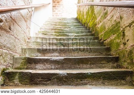 Old Marble Staircase Stairway With Moss Stone Steps