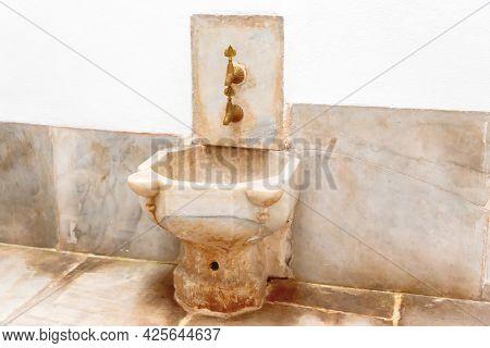 Retro Ottoman Marble Basin Sink From Turkey Sultan Palace