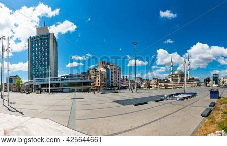 Panorama Taksim Square With No People In Empty Istanbul, Turkey