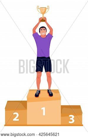 Illustration Of Ceremony Of Awarding Trophy. Winner On The Podium With Gold Award Cup. Vector Flat I