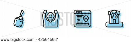 Set Line System Bug, Lighter, Thief Surrendering Hands Up And Arson Home Icon. Vector