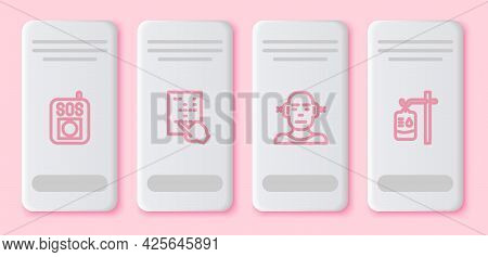 Set Line Press The Sos Button, Braille, Deaf And Iv Bag. White Rectangle Button. Vector