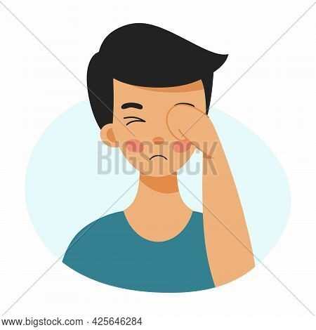 Boy Rubs His Face With His Hand. Conjunctivitis In Child. Inflammation And Injury Of Eye. Tearfulnes