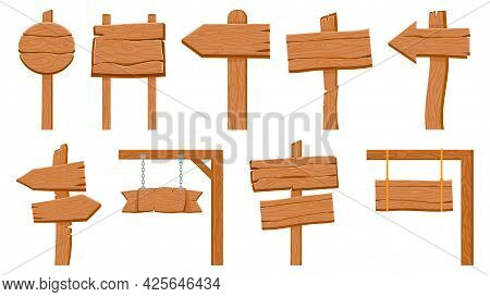 Wooden Signboards. Empty Wood Plank Round And Arrow Signs. Cartoon Old Rustic Road Direction Pointer