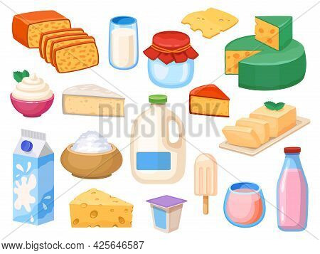 Milk Products. Milky Drinks In Glass, Box And Galon, Yogurt, Whipped And Sour Cream, Cheese Types An