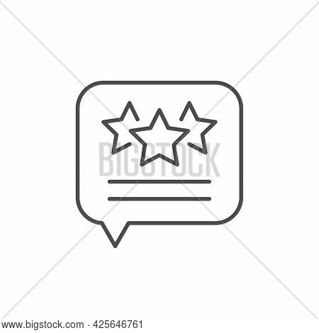 Testimonial Message Line Outline Icon Isolated On White.