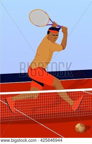Illustration With Man Tennis Player In Tennis Court. Tennis Match Sport Concept. Vector Flat Art.
