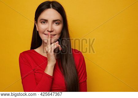 Closeup Portrait Of Attractive Young Female Model With Pretty Smile Wearing Dental Braces Isolated O