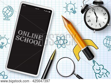 Online School Vector Design. Online School Text In Mobile Phone Device With Educational Elements For