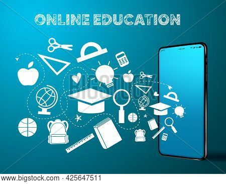 Online Education Vector Banner Design. Online Education Text With Mobile Phone Device And Educationa
