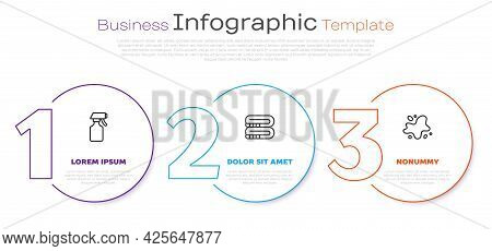 Set Line Water Spray Bottle, Towel Stack And Spill. Business Infographic Template. Vector
