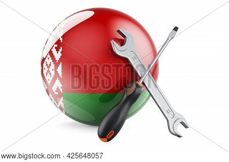 Service And Repair In Belarus Concept. Screwdriver And Wrench With Belarusian Flag, 3d Rendering Iso