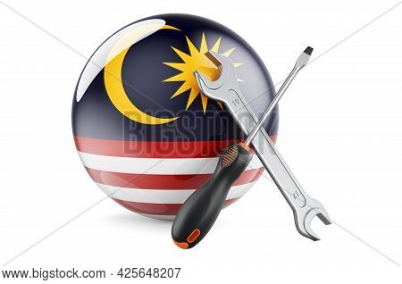 Service And Repair In Malaysia Concept. Screwdriver And Wrench With Malaysian Flag, 3d Rendering Iso