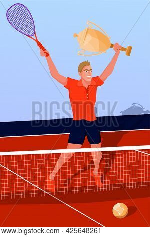 Sport Award Concept. Illustration With Man Tennis Player In Tennis Court. Winner With Award Cup And