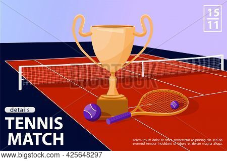 Illustration With Award Cup, Tennis Ball And Racquet In Tennis Court. Tennis Match Sport Concept. Ve