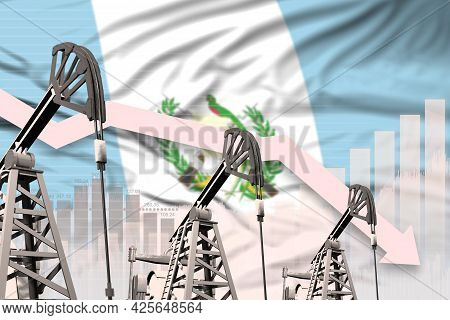 Guatemala Oil Industry Concept, Industrial Illustration - Lowering Down Chart On Guatemala Flag Back