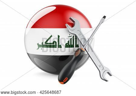 Service And Repair In Iraq Concept. Screwdriver And Wrench With Iraqi Flag, 3d Rendering Isolated On