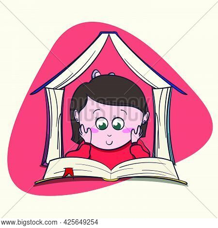 Cute Little Girl Book Lover Enjoys Reading Big Books And Novels.
