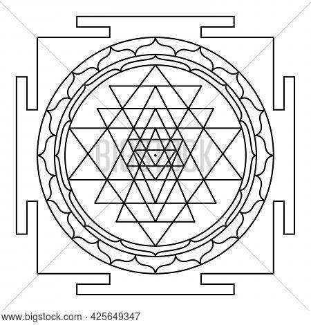 Sri Yantra, Shri Yantra Or Shri Chakra, A Mystical Hindu Diagram. Nine Interlocking Triangles Surrou