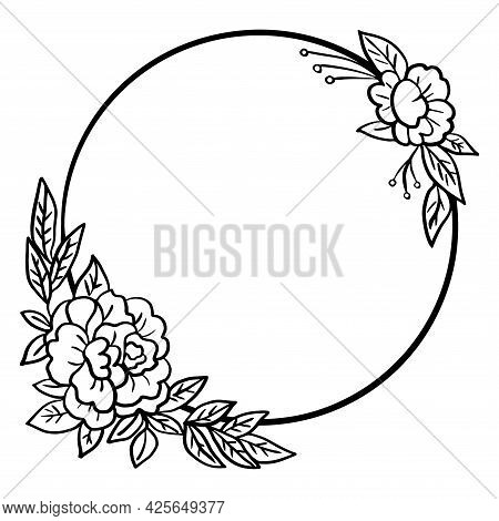 Vector Floral Border , Black And White Floral Wreath For Wedding Invitation.
