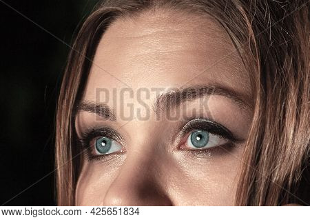 Closeup Blue Woman Eyes With Smoky Make-up, Natural Condition Of Skin With Some Imperfections, Brown