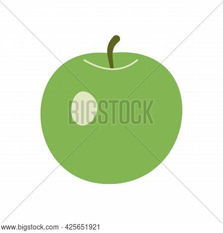 Simple Round Green Apple With A Twig, Flat Icon. Hand-drawn Vector. Healthy Lifestyle, Vegetarianism