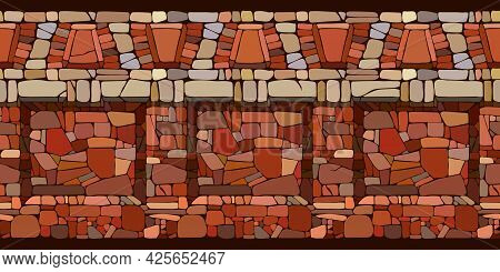 Horizontal Seamless Pattern, Ancient Stone Wall With Decorative Ornament, Part Of A Prison Or Fortre