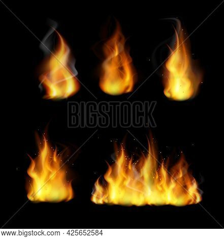 Forks Of Flame Realistic 3d Vector Illustrations Set. Burning Yellow Bonfire With Bright Sparks Coll