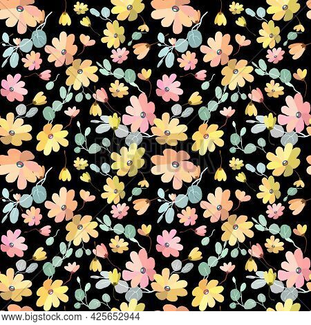 Cute Pattern In Small Flowers Witd Eucalyptus. Small Pink, Yellow Flowers. Exotic Black Background.