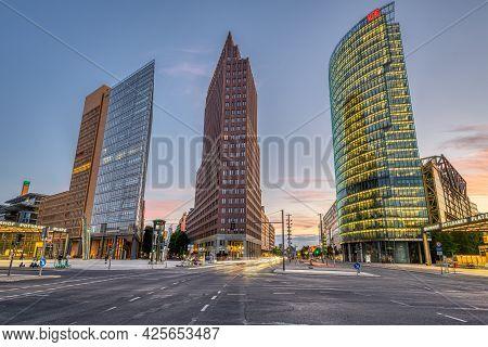 Berlin, Germany - June 09, 2021: The Potsdamer Platz Is The Symbol Of The Modern, Reunited Berlin