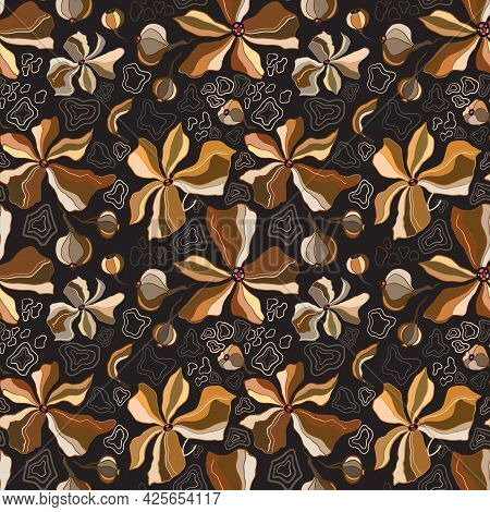 Retro Line Drawn Brown Blooming Flowers, Leafes, Branches Seamless Pattern. Exotic Trendy Floral Bac