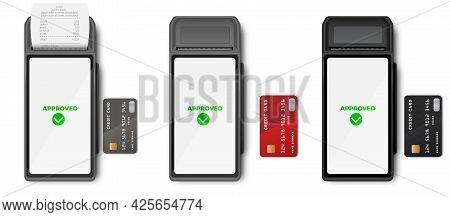 Pos Terminal Mockup Template Of Bank Payment Terminal, Design. Nfc Payments Concept. Pos Terminal Wi