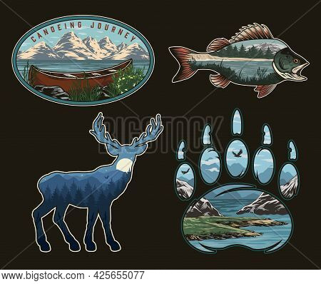 National Park Colorful Vintage Logos With Wooden Canoe Nature Landscapes Inside Perch Fish Deer And