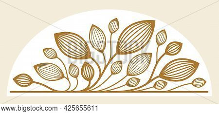 Beautiful Linear Floral Vector Design Isolated On White, Leaves And Branches Elegant Text Divider Bo
