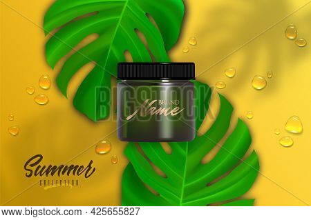 Design Cosmetics Product Advertising For Catalog, Magazine. Mock Up Of Cosmetic Package. Moisturizin