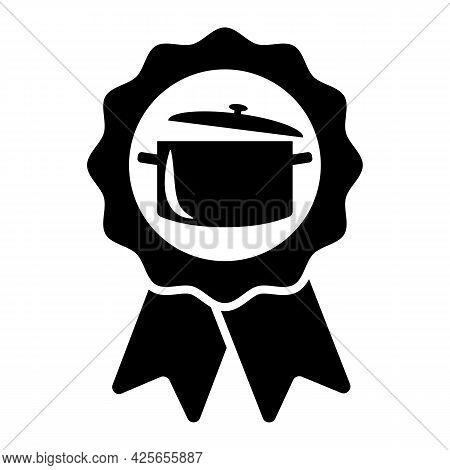 Cooking Contest First Place Ribbon Prize Winner Icon. Pot Or Deep Pan Symbol On Ribbon Sign. Vector